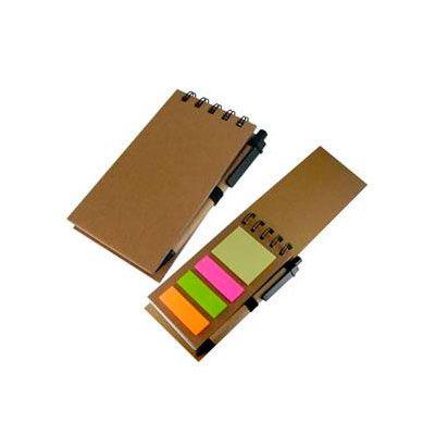 Libreta post-it con lápiz. Libreta de papel reciclado incluye bolígrafo de cartón reciclado. Colores: Café Medida: 7,3 x 14 x 1,2 cm.