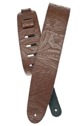 Planet Waves Embossed Leather Guitar Strap, Brown by Planet Waves. $18.09. From the Manufacturer                Stand out with the embossed leather guitar strap from Planet Waves, the perfect compliment to your guitar. The Planet Waves Deluxe Series sets the standard for leather straps. From basic single-ply styles to two-ply garment leather straps with soft suede backing, the Deluxe Series exudes class, style, fashion and function. All feature an exclusive tapered contou...