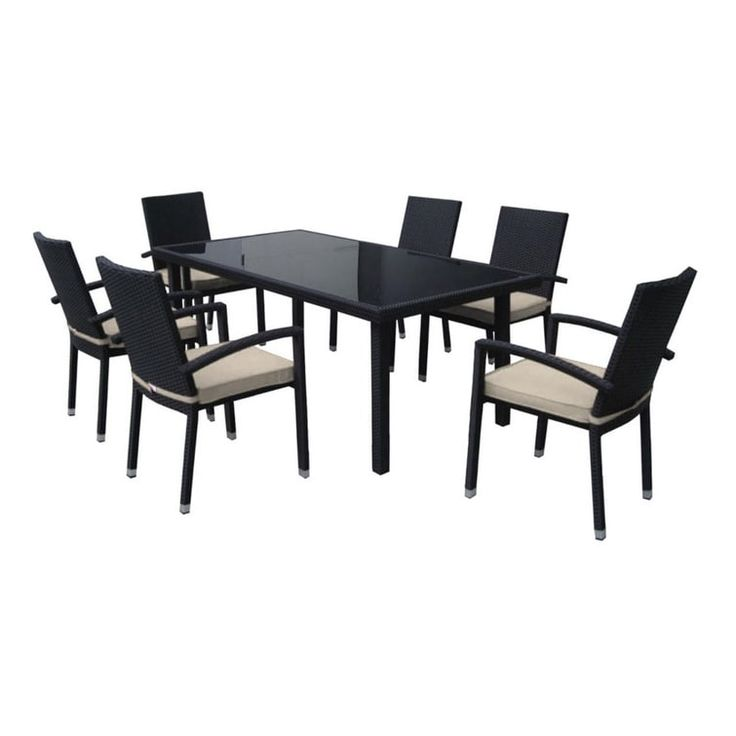 Good 7 Piece Black Resin Wicker Outdoor Furniture Patio Dining Set   Beige  Cushions, Patio