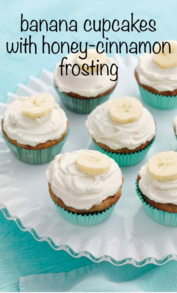 Banana Cupcakes with Honey-Cinnamon Frosting | Martha Stewart Living - For a handheld treat that takes the cake, try these cute confections -- they combine the flavor of classic banana bread with a creamy spiced frosting.