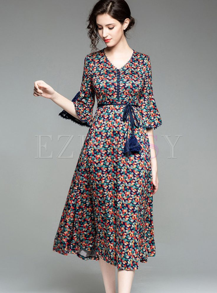 Stylish Flare Half Sleeve Floral A Line Dress Islami Giyim Aksamustu Giysileri Elbise Modelleri