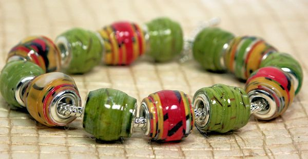 http://thefrugalcrafter.wordpress.com/2013/09/19/pandora-style-paper-beads/ - I absolutely love the polished 'real jewelry' look of these bead made with paper and metal bead cores.  there is a video tutorial.