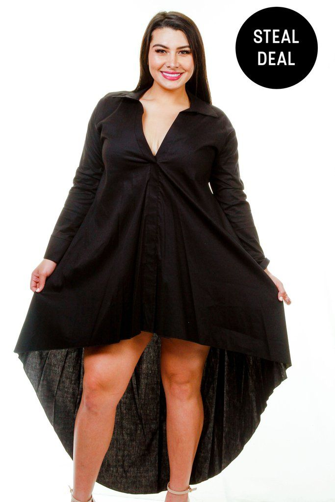 Plus Size High Low Open Back Shirt Dress