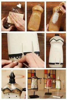Maniquies de adorno hechos de una botella de plástico.