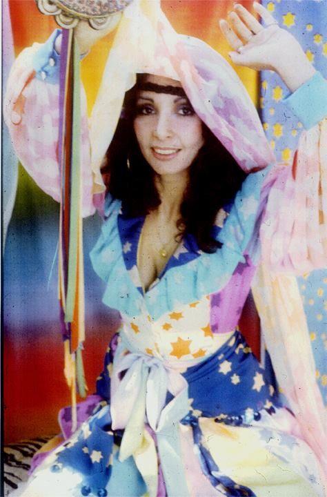 """Elle Elliott modeling the """"Summer Sunday"""" line by Marijke Koger-Dunham, 1972"""