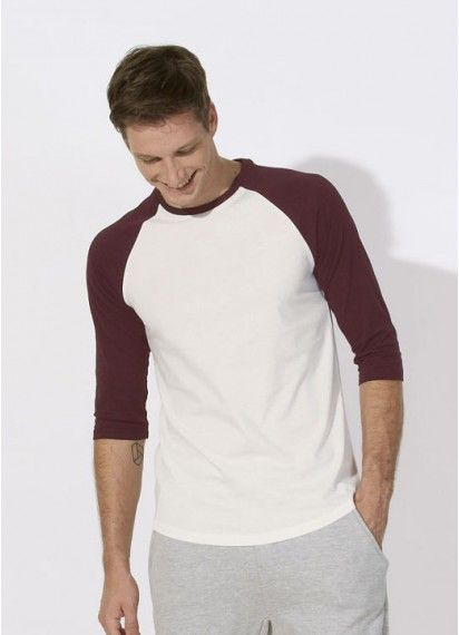 Chuck unisex baseball-style tee in Vintage White & Burgundy. Fair trade and made in Bangladesh from 100% organic cotton. #fairtrade #organiccotton #unisextee
