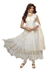 Designer white net & Brasso Anarkali Suit at just Rs.699/- on www.vendorvilla.com. Cash on Delivery, Easy Returns, Lowest Price.
