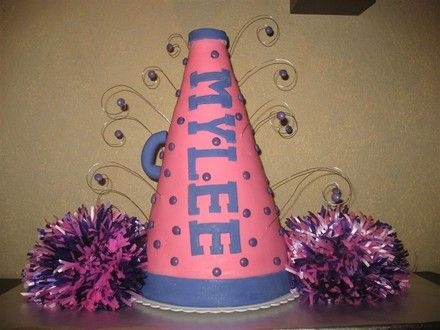 megaphone.jpg - This was made for a little girl's cheerleading-themed birthday party. I wasn't crazy about the purple polka-dots, but the mom had promised her she could have candy on her cake, so there you go!