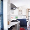 Real-Life Garage Loft Apartment from bhg. love the blue cabinets