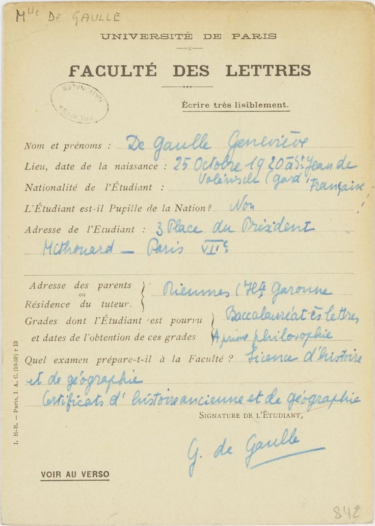 Fiche d'inscription de Geneviève de Gaulle à la faculté des Lettres de l'université de Paris, 1941-1943. Archives nationales / AJ16/5020. © Archives nationales, France