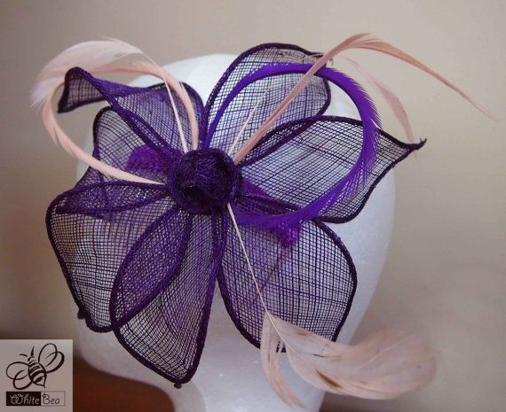 Fascinator with purple sinamay purple and antique pink by WhiteBea