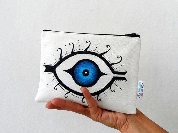 Mystic Blue Eye  Zipper Pouch  Women clutch by ShebboDesign women fashion accessory