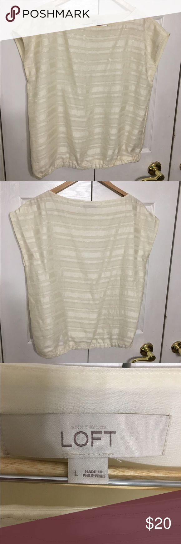 Ann Taylor LOFT Cream and Silver blouse Beautiful cream blouse with silver metallic stitched stripes. Elastic banded bottom. Never worn. LOFT Tops Blouses