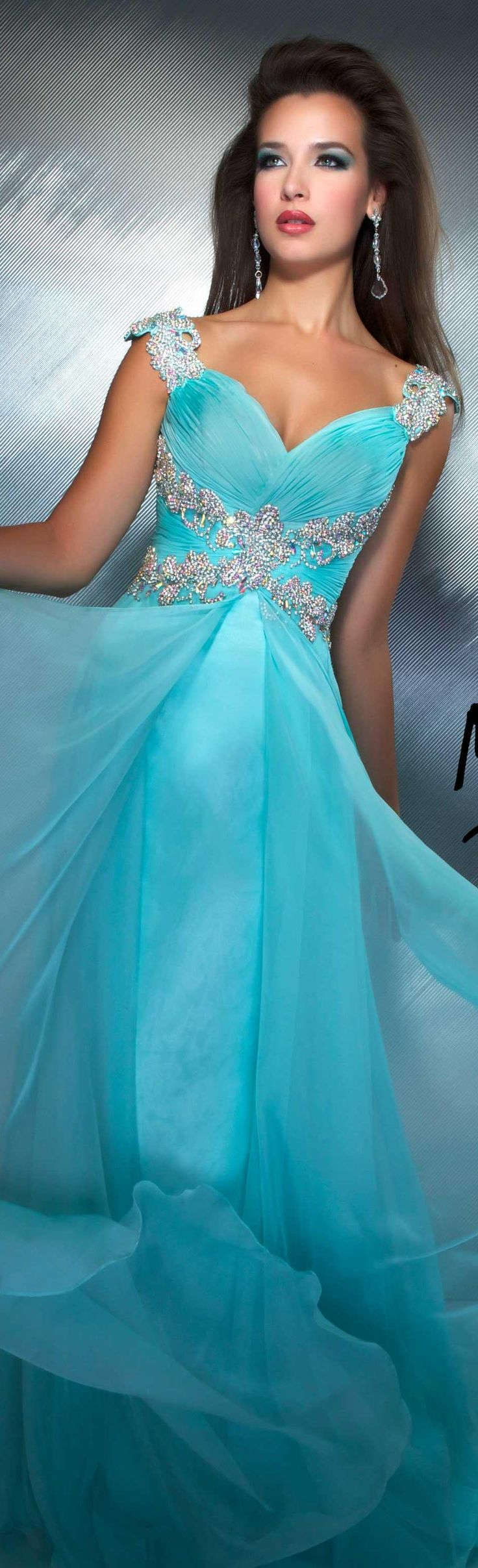 Mac Duggal couture dress aqua MAC DUGGAL PROM  STYLE 64402M
