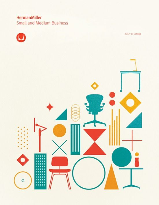 "Lots of ideas here.  Layout, color scheme, negative space, focus. ""Herman Miller brochure cover"" in Branding"