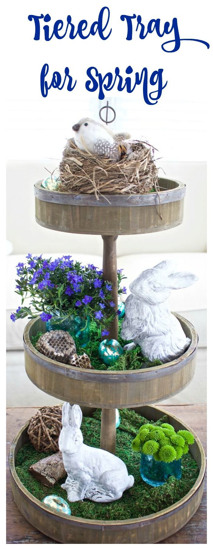 Tiered Tray Decor for Spring and Easter. Farmhouse tiered tray. Nature inspired tiered tray. Chalk paint bunny.  easter tiered tray. Spring tiered tray. Gold leaf eggs.