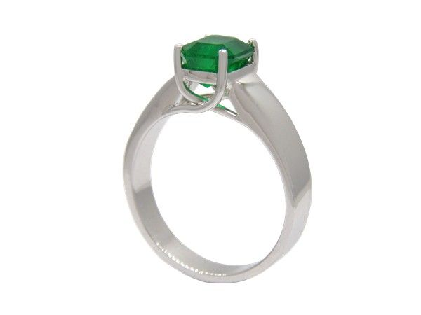 Emerald ring custom made in 18K white gold solitaire ring design for an 1.14 Ct. emerald cut natural Colombian emerald in prong setting by www.GreenInGold.com #emeralds #rings