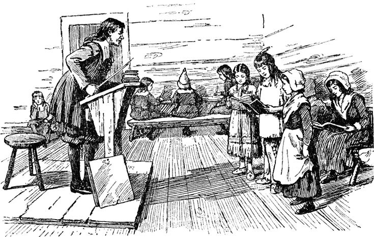 Colonial education school new york pictures engraving