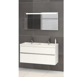 Bruynzeel Nano meubelset 120 cm met dubbele wastafel en spiegel wit