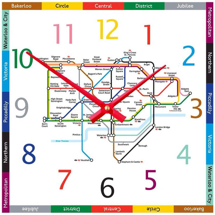 I've just found Tube Map Clock. London Tube Map Clock, an unique contemporary kitchen, study or bedroom wall clock, great traditional colours and a perfect gift.. £24.99