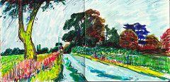 Ipsden, pri pohľade na sever Tags (Martin Beek): skicár výkresu výtvarné…