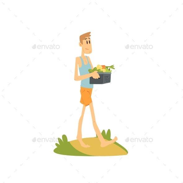 Skinny Farmer Carrying Vegetables