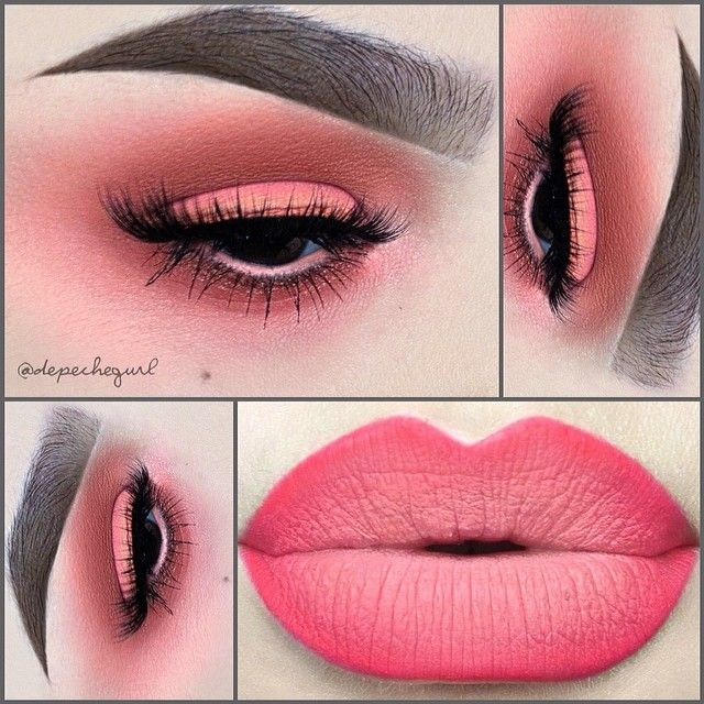 "#ShareIG I'm in ✨Coral Heaven✨ Lips - @doseofcolors ""Play Date"" Lipstick, MAC ""Silly"" Lip Liner, @Sophia Thomas Thomas oranje Cosmetics ""Hippie Chic"" Lipstick, & MUFE #18C Lip Liner. Eyes - MAC Eyeshadows in Paradisco, Vanilla, Tete-A-Tint, Early Bird (LE), Coral, A Natural Flirt, & Saffron. Urban Decay ""ABC Gum"" Eyeshadow, MAC ""Neo-Orange"" Pigment, Stila ""Lyric"" Pigment, & MAC ""Pink Pepper"" Pressed Pigment. Flutter Lashes in ""Miley."" I used @Amanda Snelson Snelson Snelson @ Black Rabbit…"