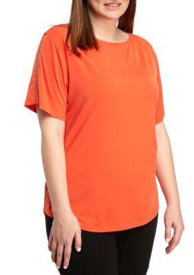 MICHAEL Michael Kors Mandarin Plus Size Metal Chain Sleeve Top
