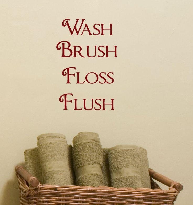 Captivating Wash Brush Floss Flush Vinyl Lettering Wall Decal Words For Bathroom Decor