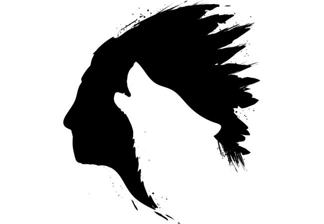 Indian howling wolf silhouettes  Artwork