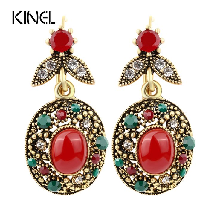 Hot New Fashion Earrings 2015 Summer Style Bohemian Blue Resin Plating Gold Hanging Long Earrings For Women