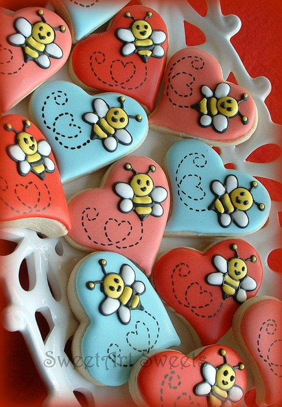 Valentine cookies  Bee cookies  Heart cookies  1 by SweetArtSweets, $36.00