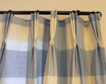 P Kaufmann Large Blueberry Buffalo Check Curtains