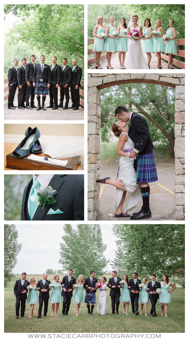 Scottish wedding. saskatoon wedding. teal bridal party. teal bridesmaid dresses…