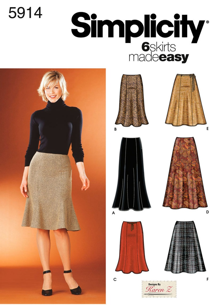 Womens Skirts Sewing Pattern 5914 Simplicity