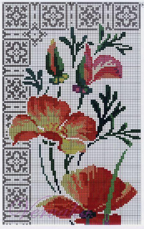 Cross stitch - flowers: California poppies (free pattern - chart - part A)