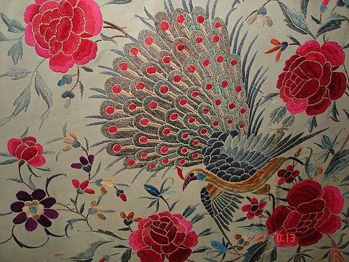 ANTIQUE SILK EMBROIDERED PIANO SHAWL FLOWERS BIRDS CHALE CANTON SOIE BRODE 63x63 | eBay