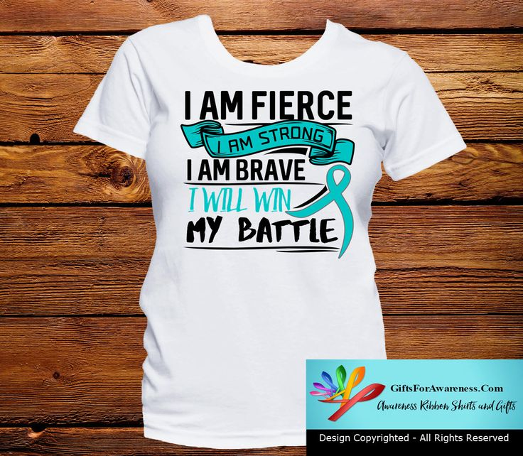 Gather your courage to fight with I Am Fierce - I Am Strong - I Am Brave - I Will Win My Battle Gynecologic Cancer awareness shirts featuring an attention-getting text slogan with the cause ribbon. Co