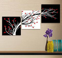 mobile site-3pc MODERN ABSTRACT OIL PAINTING ON CANVAS: BLACK RED WHITE TRE (no frame) #6018