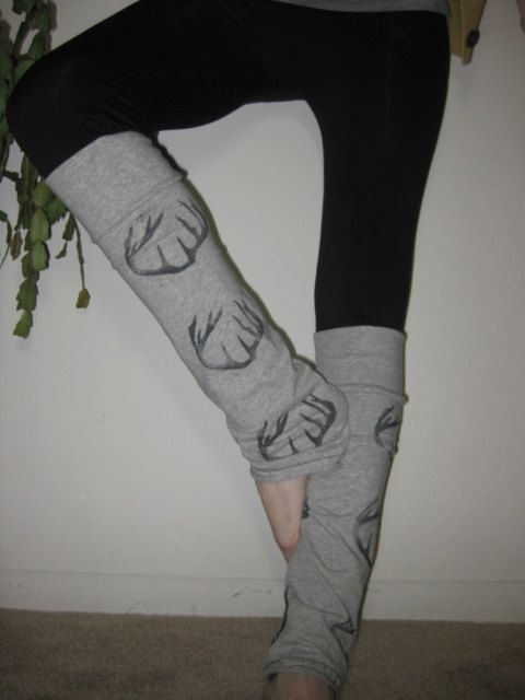 Antler Legwarmers, Hand Stenciled, Gray, White, Women, Ballet, Adult, Hunting, Leggings, Hipster, boot cuff, deer, yoga, active wear. $28.00, via Etsy.