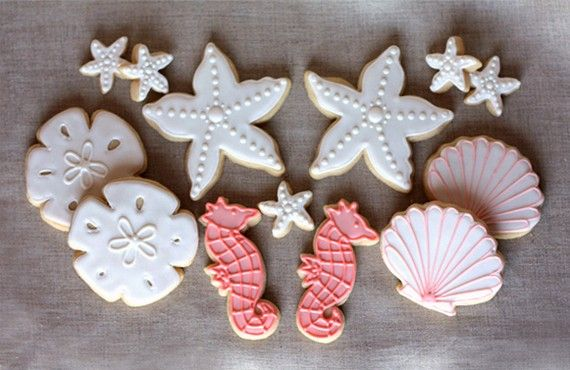 Hand Decorated Beach Themed Sugar Cookies // 1 Dozen // Seaside Wedding Favors