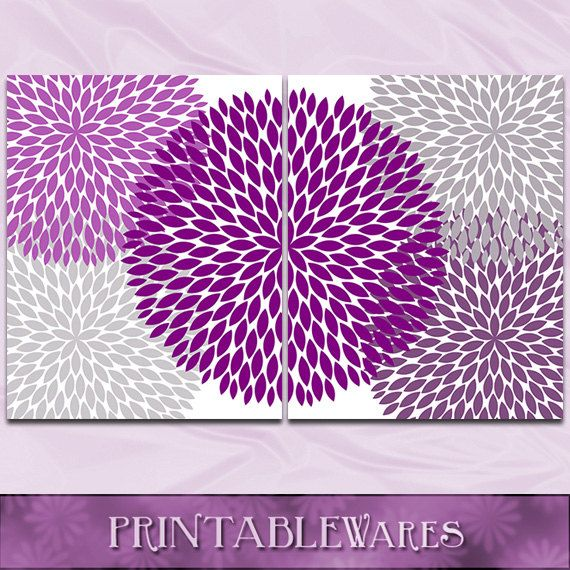 Purple gray wall art plum chrysanthemum 8x10 set nursery bathroom decor art print digital
