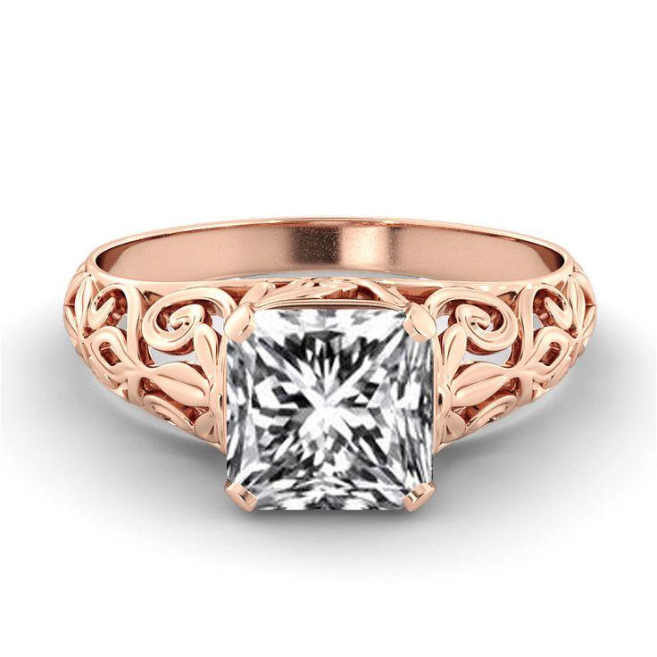 rose gold diamond engagement ring 1 carat natural vintage vs diamond filigree engagement ring 14k unique - Filigree Wedding Rings