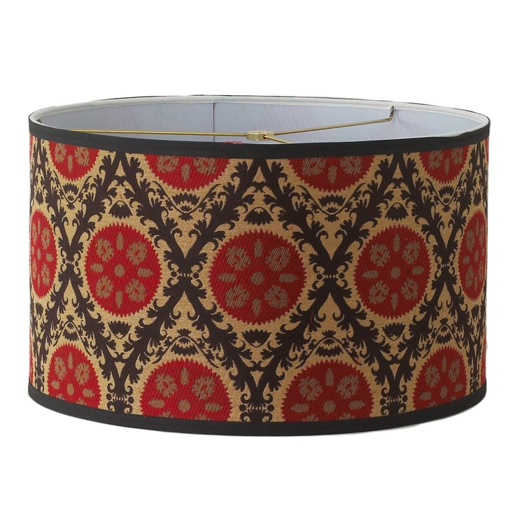 Red and brown Medallion Fabric Drum Lamp Shade