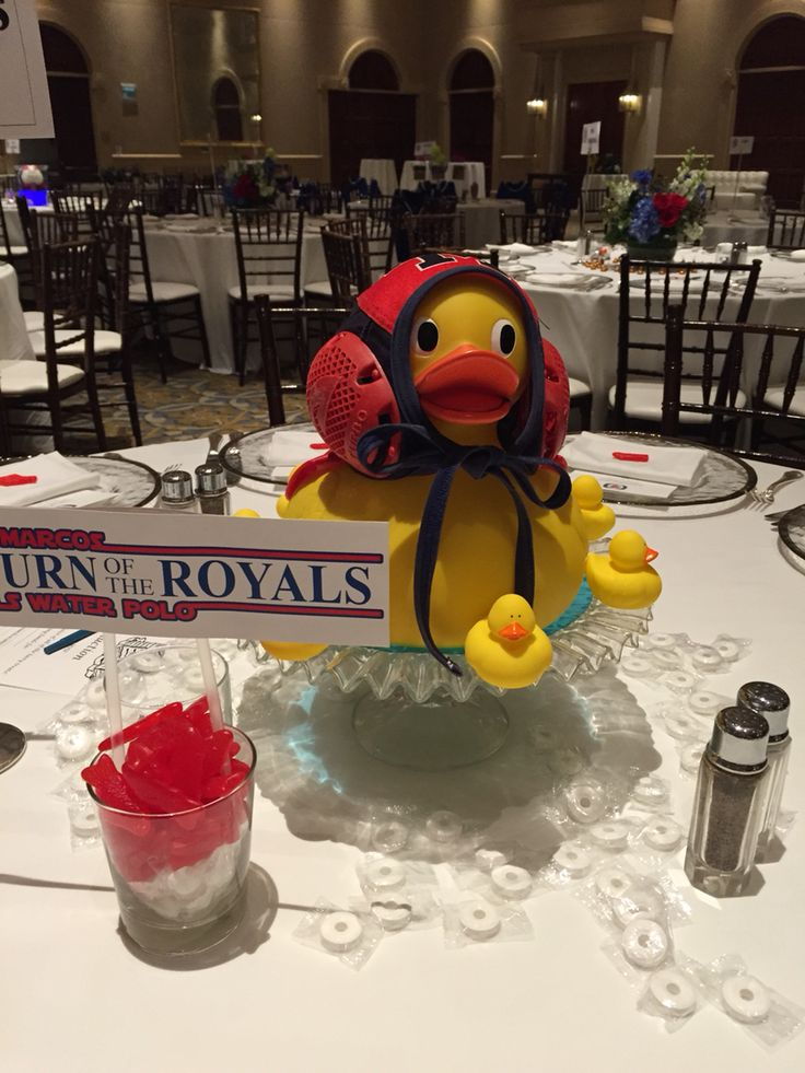 Girls Aquatic's banquet centerpiece - Water Polo, Dive , & Swim