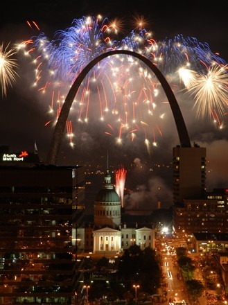 Fourth of July fireworks in St. Louis...I was there!!! 2012  (though I was looking at it from outside Busch Stadium)
