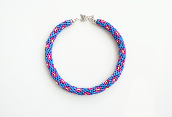 Multicolor kumihimo necklace blue fuchsia neon by elfinadesign,
