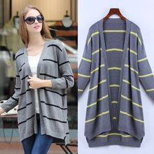 Fashionable Europe Long Sleeve Stripe Knit Sweater Cardigans Best Buy follow this link http://shopingayo.space