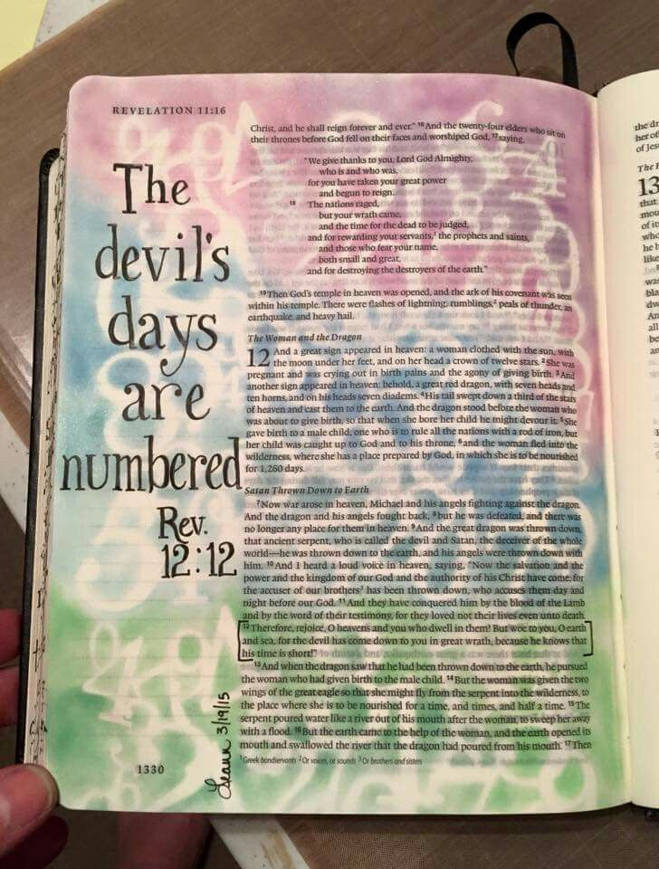 revelation 12:12// found on bible art journaling board of
