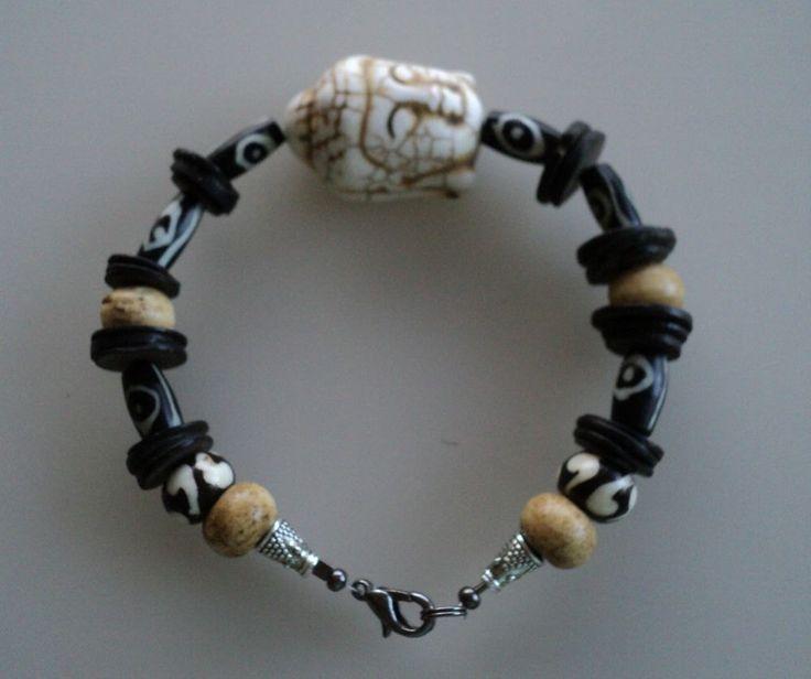 Buddha Bracelet for guys, wooden Buddha Bracelet, Wood, turquoise and Bone bracelet, Zen men bracelet, men bracelet, Handmade guy's Bracelet by Vasinidevidesigns on Etsy